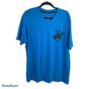 Beverly Hills Polo Club Blue Pony Logo Shirt L